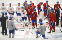 The Montreal Canadiens practice in Brossard, Quebec, Sunday, June 27, 2021. The Canadiens take on the Tampa Bay Lightning in the NHL hockey Stanley Cup finals beginning Monday in Tampa, Fla. (Graham Hughes/The Canadian Press via AP)