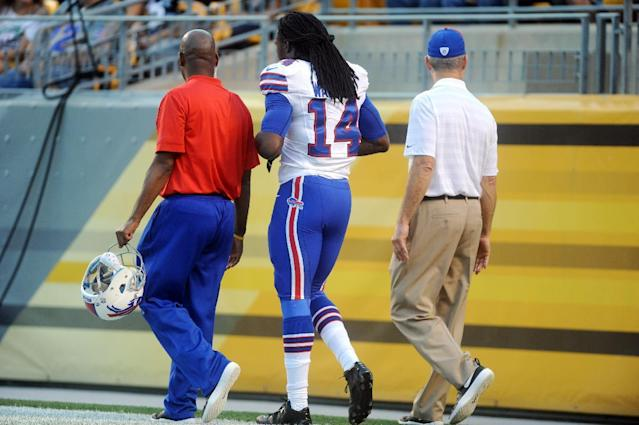 Buffalo Bills wide receiver Sammy Watkins (14) is led from the field in the first quarter of an NFL football preseason game against the Pittsburgh Steelers on Saturday, Aug. 16, 2014, in Pittsburgh. (AP Photo/Vincent Pugliese)