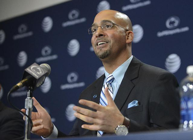 James Franklin speaks after being introduced as Penn State's new football coach during a news conference, Saturday, Jan. 11, 2014, in State College, Pa. Franklin was formerly the head coach at Vanderbilt University. He replaces Bill O'Brien who left Penn State after two seasons to become head coach of the Houston Texans. (AP Photo/ John Beale)