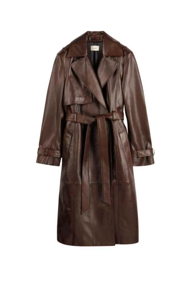 """<p><a class=""""link rapid-noclick-resp"""" href=""""https://go.redirectingat.com?id=127X1599956&url=https%3A%2F%2Fwww.hush-uk.com%2Fleather-trench-coat-chocolate-brown%2F003086-0676.html&sref=https%3A%2F%2Fwww.harpersbazaar.com%2Fuk%2Ffashion%2Fwhat-to-wear%2Fg16661706%2Fbest-trench-coats%2F"""" rel=""""nofollow noopener"""" target=""""_blank"""" data-ylk=""""slk:SHOP NOW"""">SHOP NOW</a></p><p>The <a href=""""https://www.harpersbazaar.com/uk/fashion/what-to-wear/g28746819/leather-fashion/"""" rel=""""nofollow noopener"""" target=""""_blank"""" data-ylk=""""slk:leather trend"""" class=""""link rapid-noclick-resp"""">leather trend</a> is still going strong for 2021, so if you've already got the skirt and trousers hanging in your wardrobe, it's time to graduate to outerwear. Hush's trench has a decidedly Seventies feel with its chocolate-brown hue and boxy cut, but the hardware-free fastenings keep things feeling sleek and modern.</p><p>Leather Trench Coat, £389, <a href=""""https://go.redirectingat.com?id=127X1599956&url=https%3A%2F%2Fwww.hush-uk.com%2Fleather-trench-coat-chocolate-brown%2F003086-0676.html&sref=https%3A%2F%2Fwww.harpersbazaar.com%2Fuk%2Ffashion%2Fwhat-to-wear%2Fg16661706%2Fbest-trench-coats%2F"""" rel=""""nofollow noopener"""" target=""""_blank"""" data-ylk=""""slk:hush-uk.com"""" class=""""link rapid-noclick-resp"""">hush-uk.com</a></p>"""