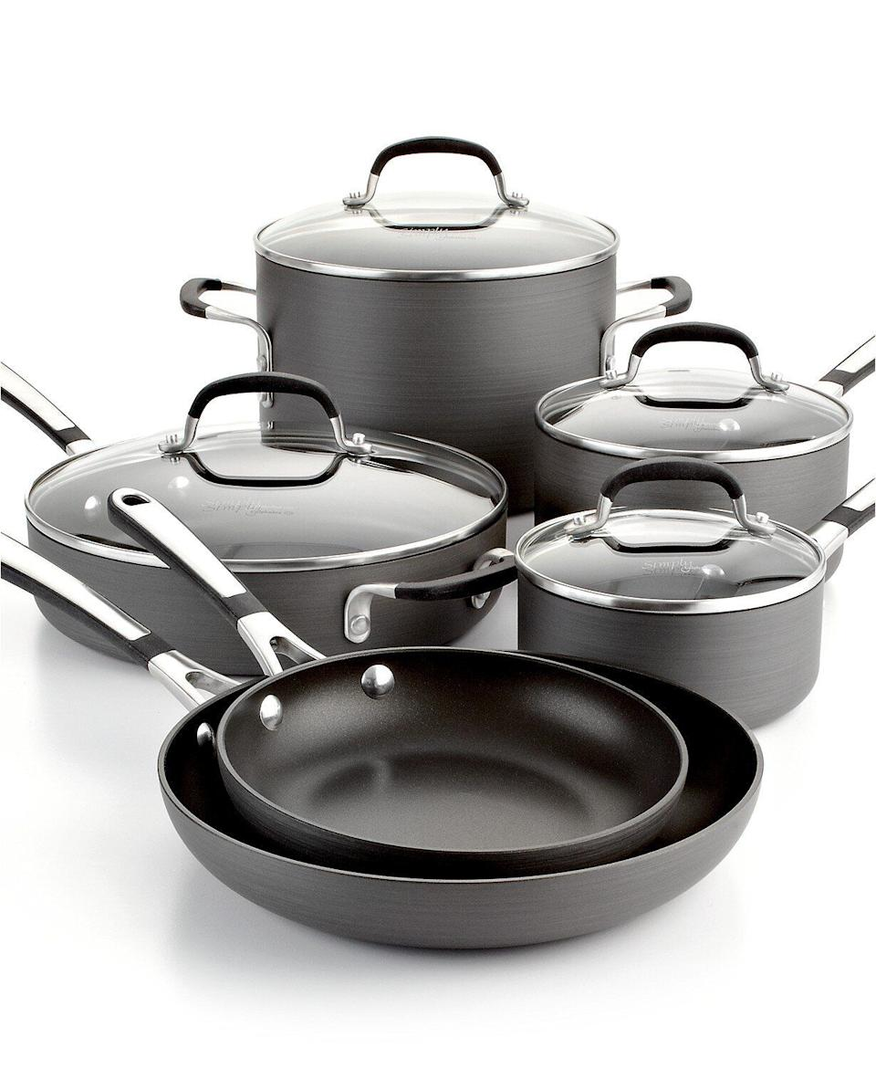 "From Calphalon, this cookware set includes two different-sized omelette pans and sauce pans. The pots and pans in this set are meant to be quick-heating to save you time and non-stick for an easy clean up. <a href=""https://fave.co/2IRnkk3"" target=""_blank"" rel=""noopener noreferrer"">Originally $250, get the set now for $100 at Macy's</a>."