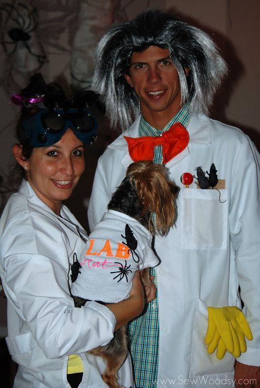 """<p>Easy and inexpensive to cook up, this couple's costume is a winner whether or not you have a wee dog willing to be a """"lab rat.""""</p><p><strong>Get the tutorial at <a href=""""https://sewwoodsy.com/mad-scientist-costumes-science-experiments/"""" rel=""""nofollow noopener"""" target=""""_blank"""" data-ylk=""""slk:Sew Woodsy"""" class=""""link rapid-noclick-resp"""">Sew Woodsy</a>.</strong></p><p><a class=""""link rapid-noclick-resp"""" href=""""https://go.redirectingat.com?id=74968X1596630&url=https%3A%2F%2Fwww.walmart.com%2Fip%2FM-M-SCRUBS-WOMEN-LAB-COAT-1516%2F350724828&sref=https%3A%2F%2Fwww.countryliving.com%2Fdiy-crafts%2Fg4616%2Fdiy-halloween-costumes-for-couples%2F"""" rel=""""nofollow noopener"""" target=""""_blank"""" data-ylk=""""slk:SHOP LAB COATS"""">SHOP LAB COATS</a><br></p>"""
