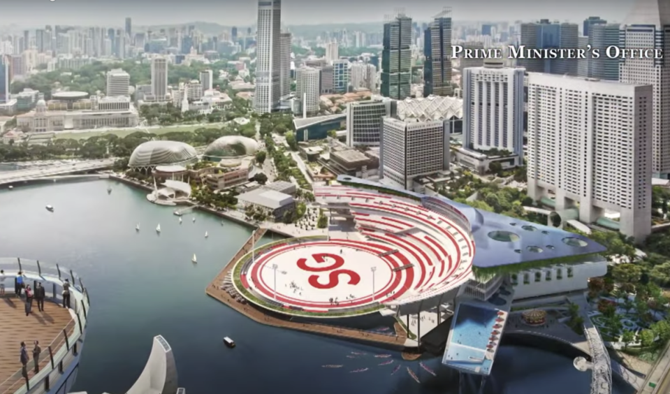 The design for NS Square was unveiled by Prime Minister Lee Hsien Loong in his National Day message on 9 August 2020. (SCREENSHOT: Prime Minister's Office/YouTube)