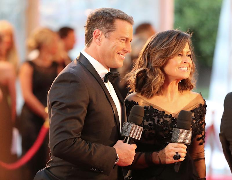 Karl Stefanovic and Lisa Wilkinson arrive at the 59th Annual Logie Awards at Crown Palladium on April 23, 2017