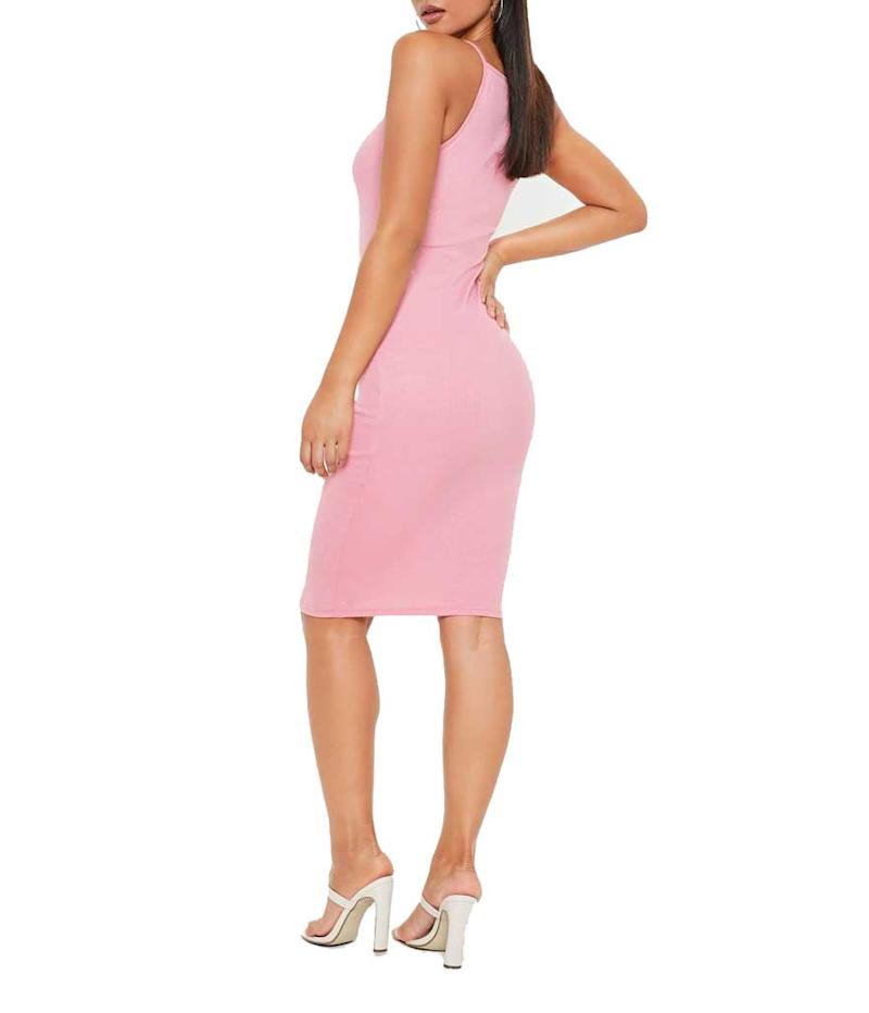 Ribbed pink dress. (Photo: Missguided)