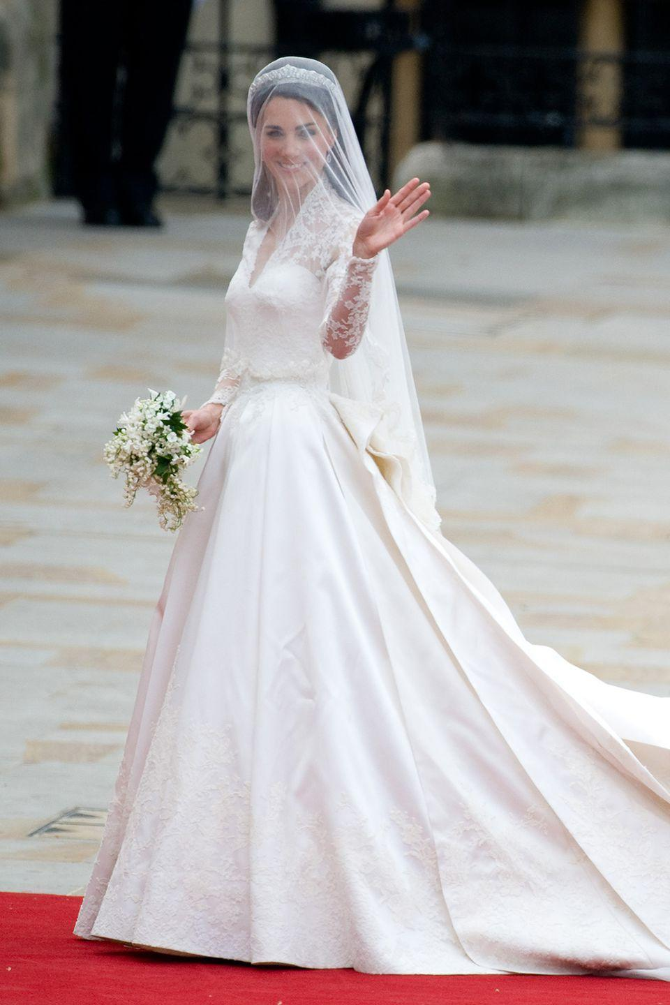 <p>Practically the whole world was watching when the Duchess of Cambridge arrived at Westminster Abbey to wed Prince William. Designed by Sarah Burton for Alexander McQueen, the dress sparked a million copycats - and a celebration of lace sleeves.</p>