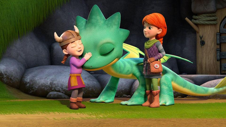 "<p>If you have a <em>How to Raise Your Dragon</em> fan who is sad the movie franchise is complete, you can keep them in the world of dragons and vikings a little longer. This show follows twins who were raised by dragons and can speak their language. </p><p><a class=""link rapid-noclick-resp"" href=""https://www.netflix.com/title/80218107"" rel=""nofollow noopener"" target=""_blank"" data-ylk=""slk:WATCH NOW"">WATCH NOW</a></p>"