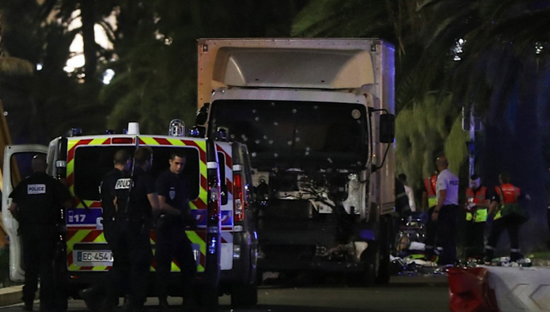A truck with possibly two occupants inside rammed into the crowd while fireworks were going off. Photo: Getty