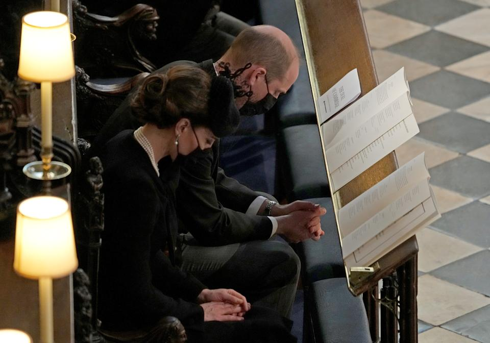The Duke and Duchess of Cambridge during the funeral of the Duke of Edinburgh in St George's Chapel, Windsor Castle, Berkshire. Picture date: Saturday April 17, 2021.