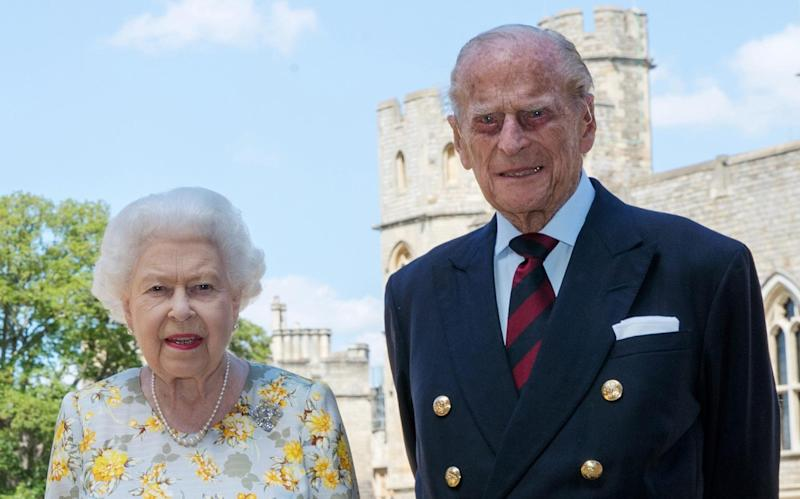 The Queen and Prince Philip pictured at Windsor Castle, where they have been since March