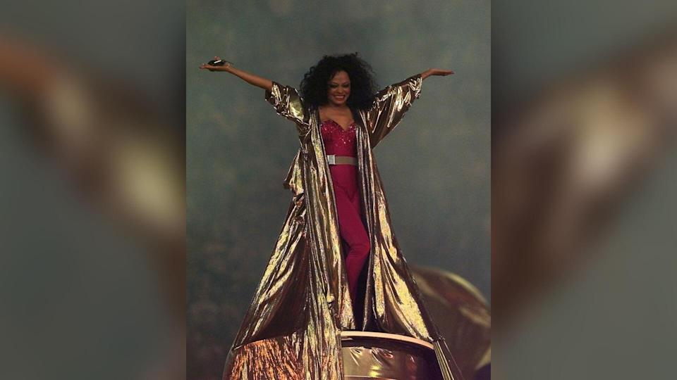 Diana Ross performs at the halftime show during Super Bowl XXX, where the Dallas Cowboys are playing the Pittsburgh Steelers in Tempe, Ariz.