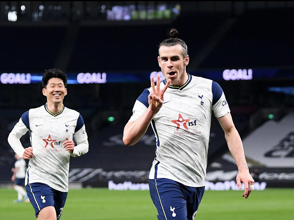 Gareth Bale (right) scored three times before Son Heung-min added Spurs' fourth (Getty Images)