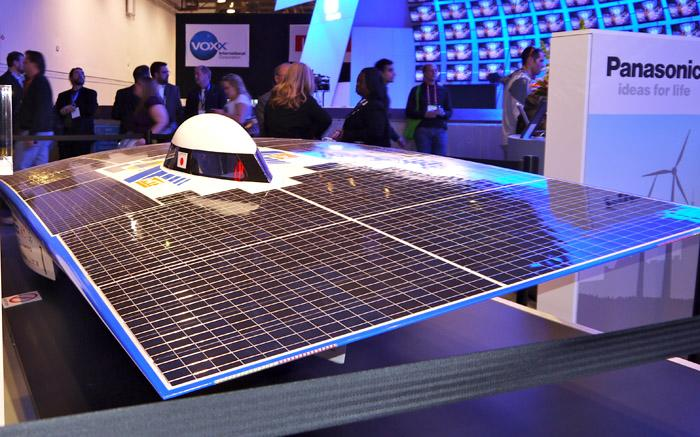 Panasonic's solar power car isn't the most comfortable to drive but will get you in the HOV lane. (Scott Ard/Yahoo! News)