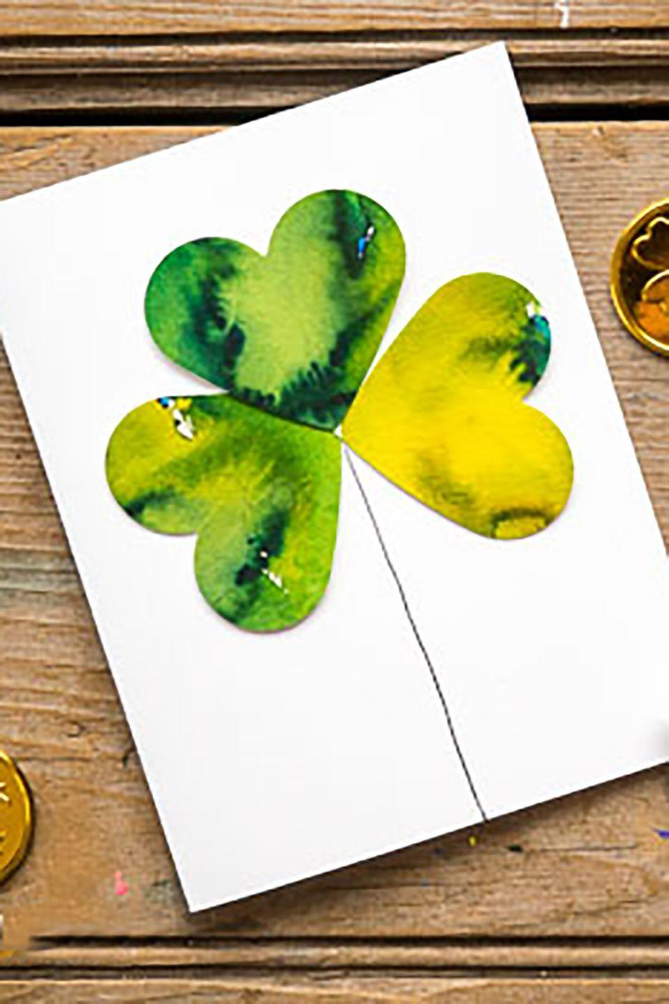 """<p>Have the kids help out with this gorgeous card that can be given to friends or family.</p><p><strong>Get the tutorial at <a href=""""http://www.hellowonderful.co/post/KID-MADE-WATERCOLOR-SHAMROCK-CLOVER-CARDS#_a5y_p=5057133"""" rel=""""nofollow noopener"""" target=""""_blank"""" data-ylk=""""slk:Hello Wonderful"""" class=""""link rapid-noclick-resp"""">Hello Wonderful</a>. </strong></p>"""
