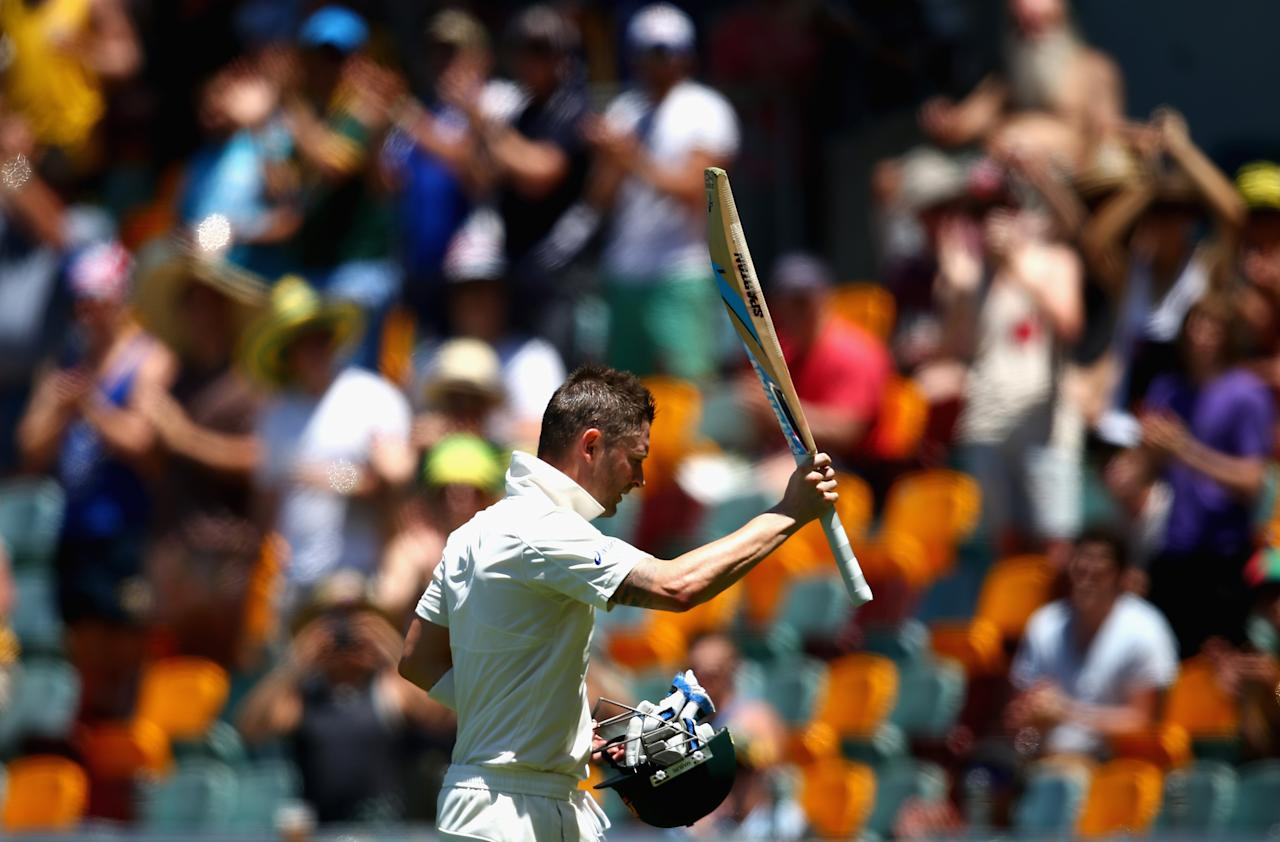 BRISBANE, AUSTRALIA - NOVEMBER 13:  Michael Clarke of Australia leaves the ground on 259 not out after he declared Australia's first innings during day five of the First Test match between Australia and South Africa at The Gabba on November 13, 2012 in Brisbane, Australia.  (Photo by Ryan Pierse/Getty Images)