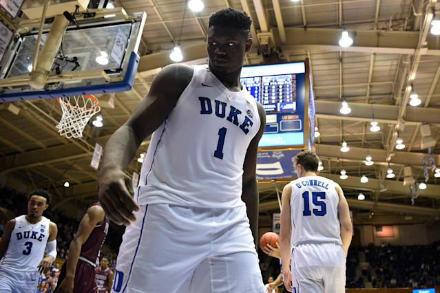 Duke's Zion Williamson will make his collegiate debut against Kentucky on Tuesday night in the Champions Classic. (Getty Images)