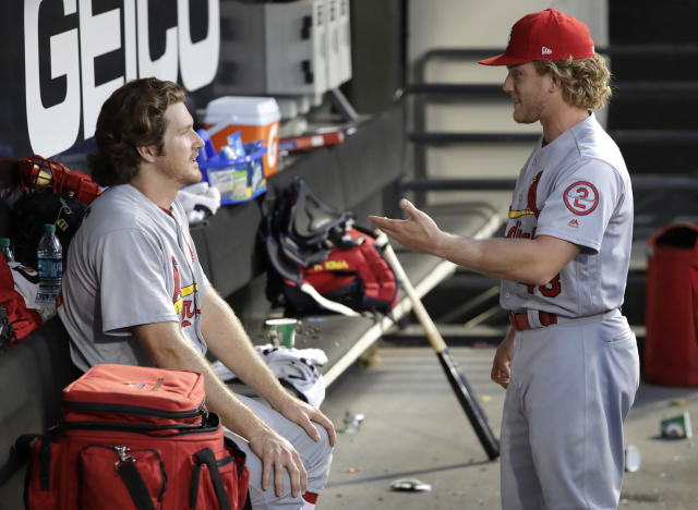 "While in Japan, <a class=""link rapid-noclick-resp"" href=""/mlb/players/9173/"" data-ylk=""slk:Miles Mikolas"">Miles Mikolas</a> (left) learned from his teammates to be more balanced on the mound. (AP)"