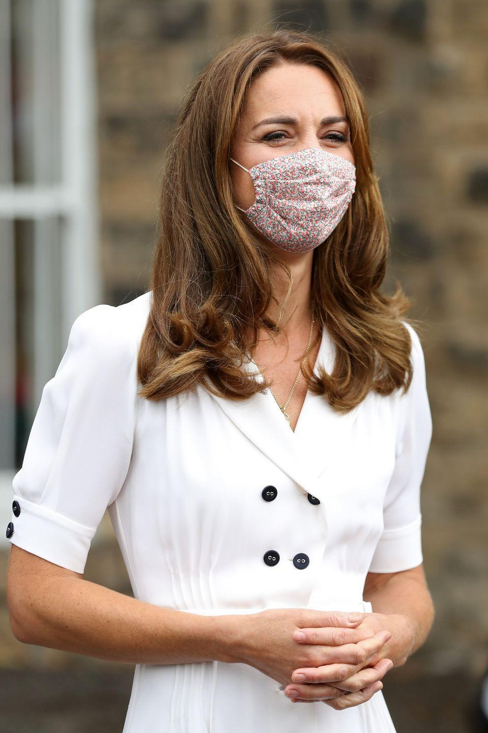 """<p>She wore the same mask earlier in August when she dropped off donations at a Baby Bank in Sheffield, which helps provide families in need with supplies for their newborns.</p><p><a class=""""link rapid-noclick-resp"""" href=""""https://www.amaiakids.co.uk/collections/masks-1/products/adult-reusable-cotton-face-mask-pepper-liberty?variant=32480581976146"""" rel=""""nofollow noopener"""" target=""""_blank"""" data-ylk=""""slk:Shop the Mask"""">Shop the Mask</a></p>"""