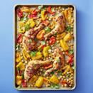 """<p>Winner-winner, chicken <del>dinner</del> lunch. Combine earthy chickpeas, sweet peppers, and harissa sauce and give your flavorful lunch a little spicy kick. <br></p><p><em><a href=""""https://www.womansday.com/food-recipes/a33576552/sheet-pan-chickpea-chicken-recipe/"""" rel=""""nofollow noopener"""" target=""""_blank"""" data-ylk=""""slk:Get the Sheet Pan Chickpea Chicken recipe."""" class=""""link rapid-noclick-resp"""">Get the Sheet Pan Chickpea Chicken recipe.</a></em></p>"""