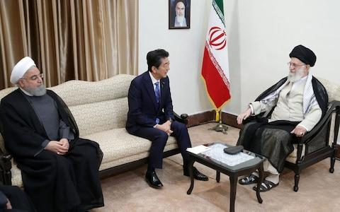 <span>Shinzo Abe met the Supreme Leader of Iran, Ali Khamenei during his official visit in Tehran, and Iranian President Hassan Rouhani&nbsp;</span> <span>Credit: IRANIAN SUPREME LEADER PRESS OFFICE - HANDOUT/Anadolu Agency/Getty Images </span>
