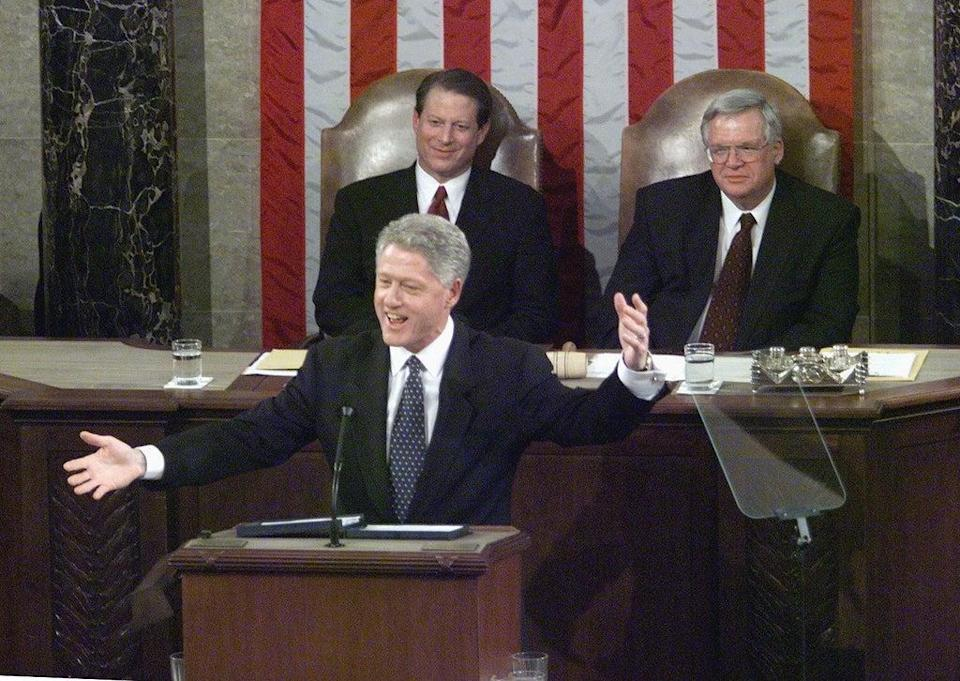 US President Bill Clinton speaks to members of Congress during his State of the Union address on Capitol Hill on 19 January 1999 in Washington, DC (LUKE FRAZZA/AFP via Getty Images)