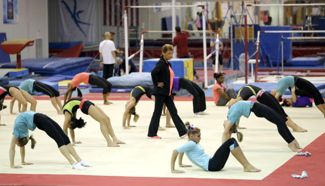 Marta Karolyi, national team coordinator for USA Gymnastics, watches over gymnasts during a training session at the Karolyi Ranch in New Waverly, Texas.