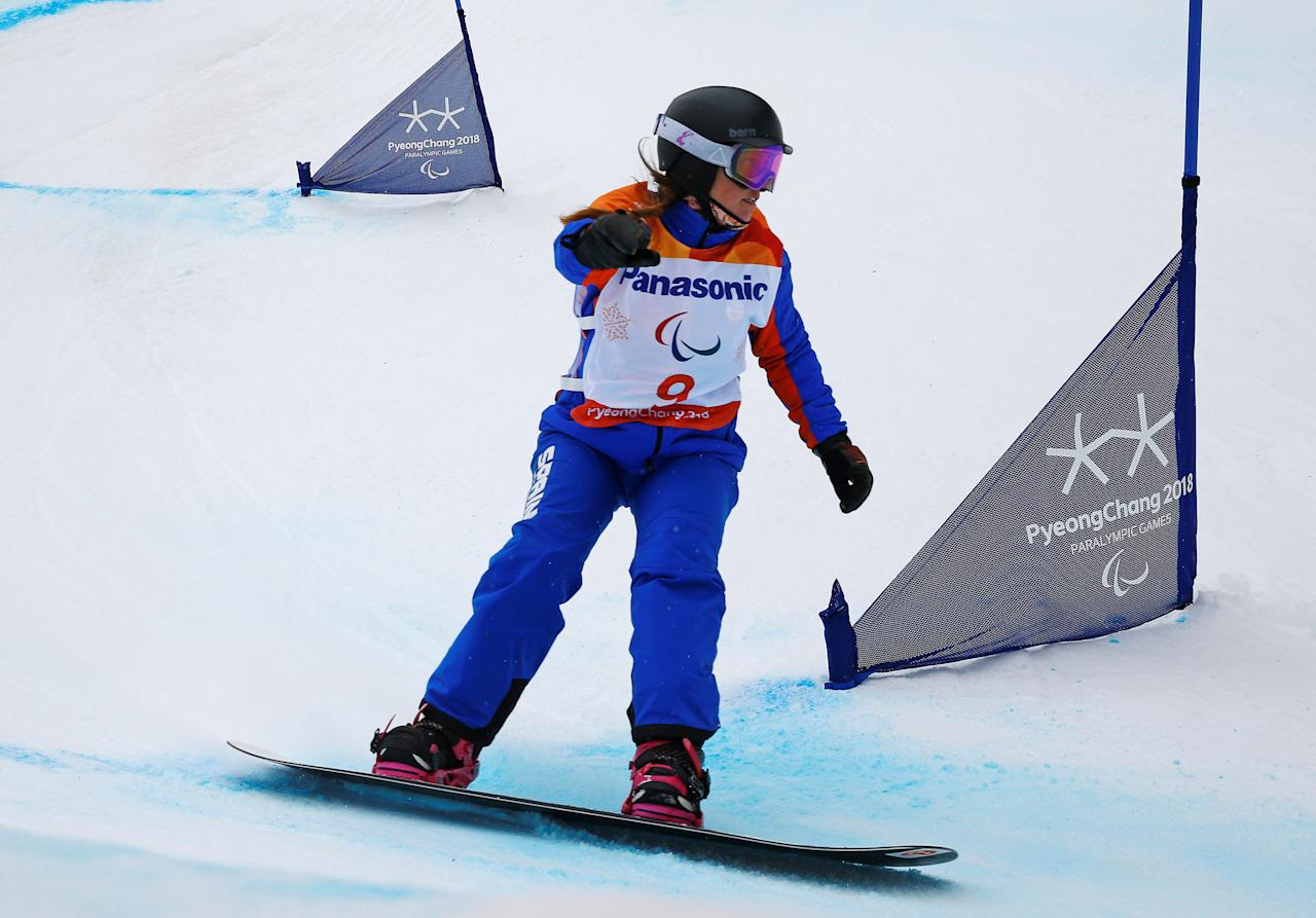 Snowboard - Pyeongchang 2018 Winter Paralympics - Women's Banked Slalom SB-LL2 - Run 2 - Jeongseon Alpine Centre - Jeongseon, South Korea - March 16, 2018 - Astrid Fina Paredes of Spain.   REUTERS/Paul Hanna