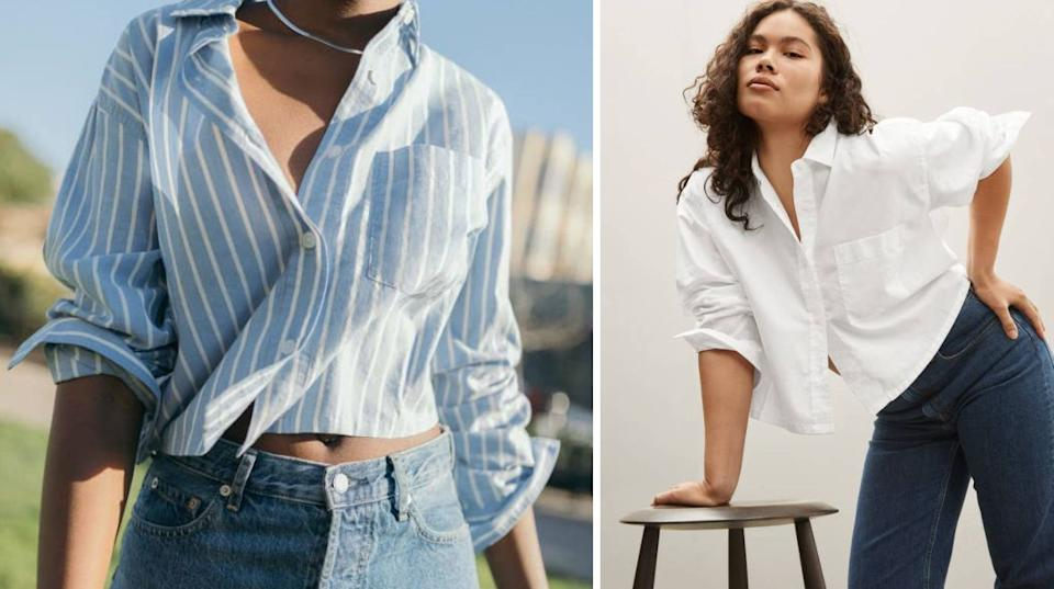 """You'll find this top to be businessy enough for Monday a.m. Zooms and yet comfy and stylish for relaxing Sundays spent people-watching with a cappuccino in hand.<br /><br /><strong>Promising review:</strong>""""I love this top. I was looking for a top that could be dressed up or down, and this shirt is versatile enough. The fabric is soft and comfortable. It is cropped and a bit boxy but that is the look I was going for. I can't wait to wear it with some high wasted jeans or skirts this spring and with shorts in the summer."""" —<a href=""""https://go.skimresources.com?id=38395X987171&xs=1&xcust=HPSpringClothesDemand-60a2c5dee4b069dc48fe75a1-&url=https%3A%2F%2Fwww.everlane.com%2Fproducts%2Fwomens-silky-cttn-cropped-shirt-white"""" target=""""_blank"""" rel=""""nofollow noopener noreferrer"""" data-skimlinks-tracking=""""5925990"""" data-vars-affiliate=""""www.pntra.com"""" data-vars-campaign=""""SHOPSpringReadyClothesReviewersLoveJasminSandal-4-12-21--5923371"""" data-vars-href=""""https://www.pntra.com/t/TEFNS0VFQUVLRU1GRUFFREhLRE0?sid=SHOPSpringReadyClothesReviewersLoveJasminSandal-4-12-21--5923371&url=https%3A%2F%2Fwww.everlane.com%2Fproducts%2Fwomens-silky-cttn-cropped-shirt-mariner-white"""" data-vars-keywords=""""fast fashion"""" data-vars-link-id=""""16627439"""" data-vars-price="""""""" data-vars-product-id=""""21075538"""" data-vars-product-img=""""https://media.everlane.com/image/upload/c_fill,dpr_1.0,f_auto,g_face:center,q_auto,w_auto:100:748/v1/i/9b638d5a_7147.jpg"""" data-vars-product-title=""""The Silky Cotton Cropped Shirt"""" data-vars-redirecturl=""""https://www.everlane.com/products/womens-silky-cttn-cropped-shirt-mariner-white"""" data-vars-retailers=""""everlane"""" data-ml-dynamic=""""true"""" data-ml-dynamic-type=""""sl"""" data-orig-url=""""https://www.pntra.com/t/TEFNS0VFQUVLRU1GRUFFREhLRE0?sid=SHOPSpringReadyClothesReviewersLoveJasminSandal-4-12-21--5923371&url=https%3A%2F%2Fwww.everlane.com%2Fproducts%2Fwomens-silky-cttn-cropped-shirt-mariner-white"""" data-ml-id=""""23"""">Customer</a><br /><br /><strong><a href=""""https://go.skimresources.com?id=38395X987171"""