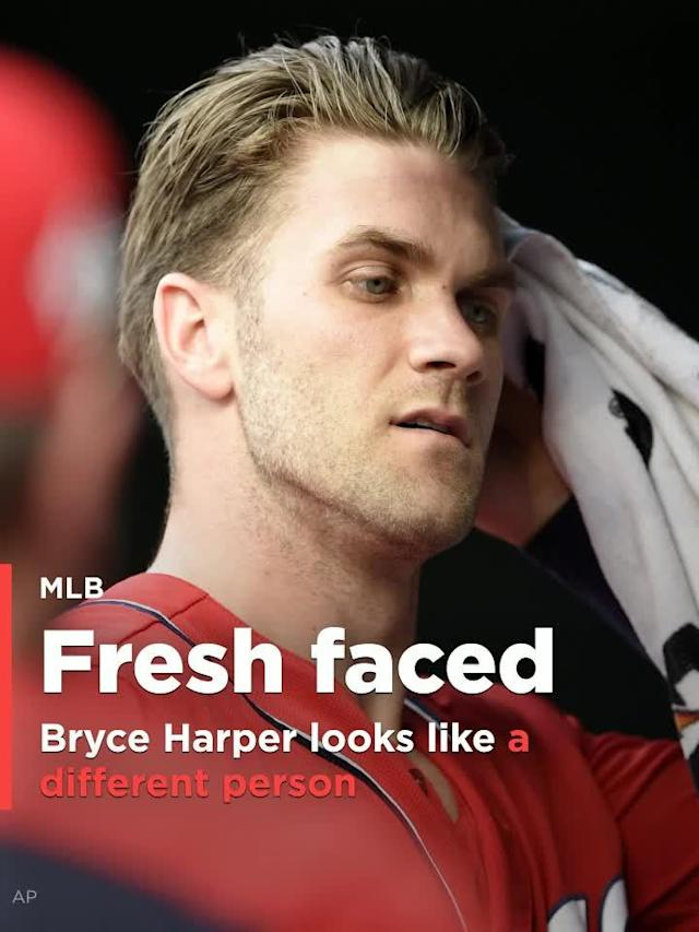 Washington Nationals outfielder Bryce Harper shaved his beard before Monday's game. It must be his way of trying to break out of his season-long slump.