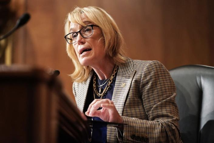 """<div class=""""inline-image__caption""""> <p>Sen. Maggie Hassan (D-NH) asks questions during a Senate Homeland Security and Governmental Affairs Committee hearing.</p> </div> <div class=""""inline-image__credit""""> Joshua Roberts-Pool/Getty Images </div>"""