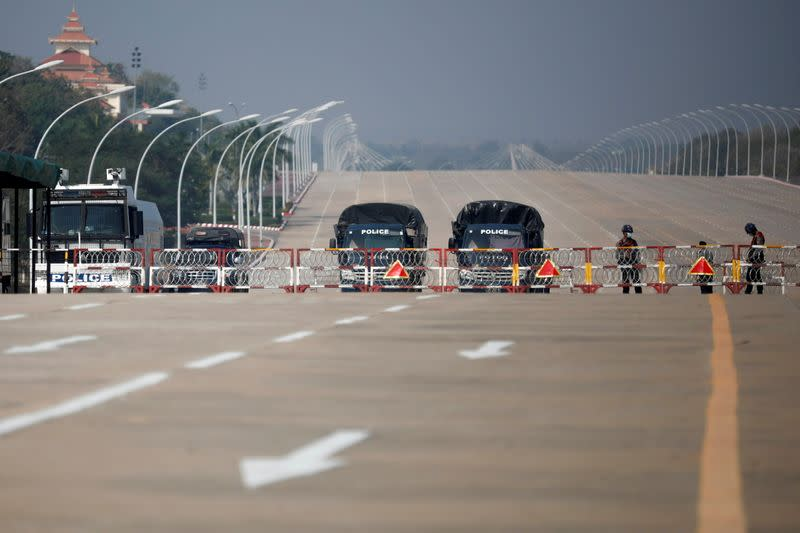 Myanmar's police checkpoint is seen on the way to the congress compound in Naypyitaw