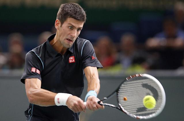 Novak Djokovic of Serbia returns the ball to Roger Federer of Switzerland during their semi final match, at the Paris Masters tennis at Bercy Arena in Paris, France, Saturday, Nov. 2, 2013. (AP Photo/Francois Mori)