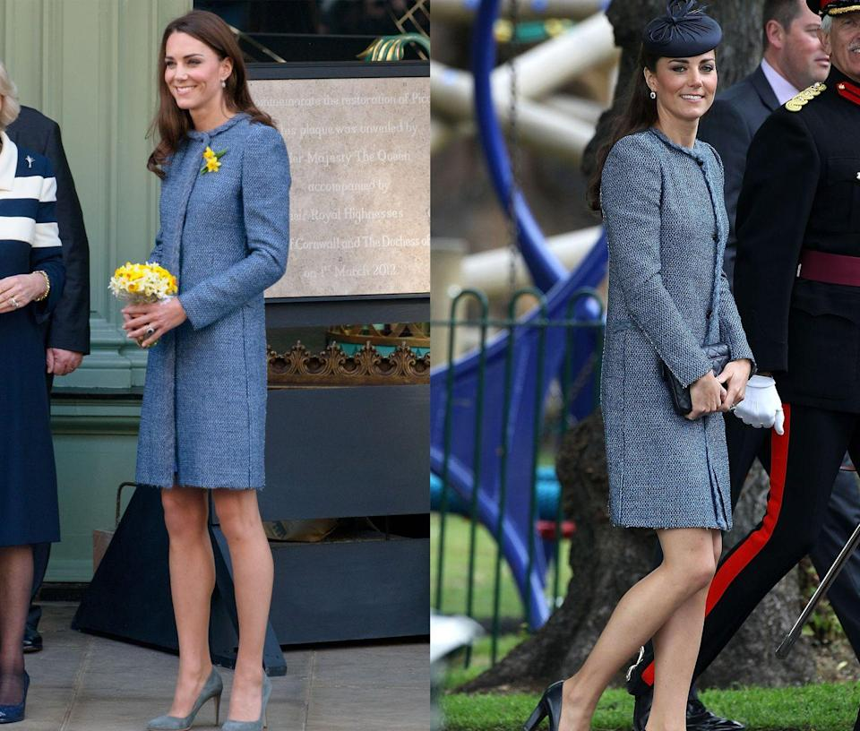<p>Middleton has repeated this M Missoni tweed coat a few times, pictured here in March and June of 2012. </p>