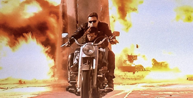 In the original version of <i>T2</i>, a stuntman can be seen driving the motorcycle. (Photo: Lionsgate)