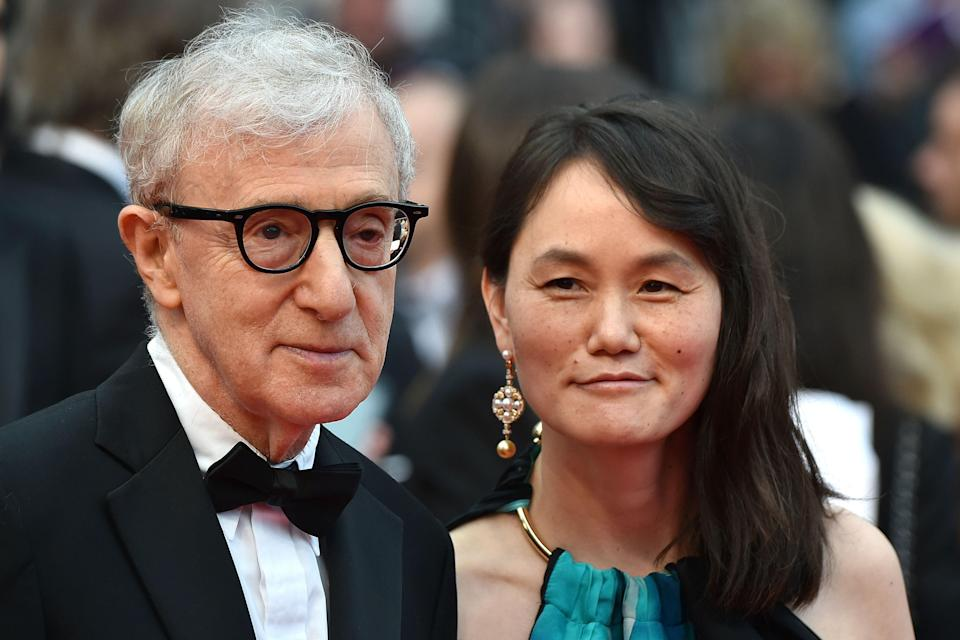 """Woody Allen and his wife Soon-Yi Previn on May 11, 2016 for the screening of the film """"Cafe Society"""" during the opening ceremony of the 69th Cannes Film Festival in Cannes."""