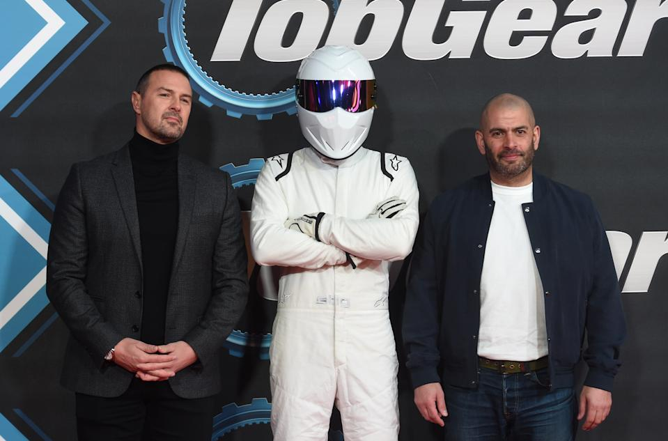 """LONDON, ENGLAND - JANUARY 20: Paddy McGuinness, The Stig and Chris Harris attend the """"Top Gear"""" World TV Premiere at Odeon Luxe Leicester Square on January 20, 2020 in London, England. (Photo by Stuart C. Wilson/Getty Images)"""
