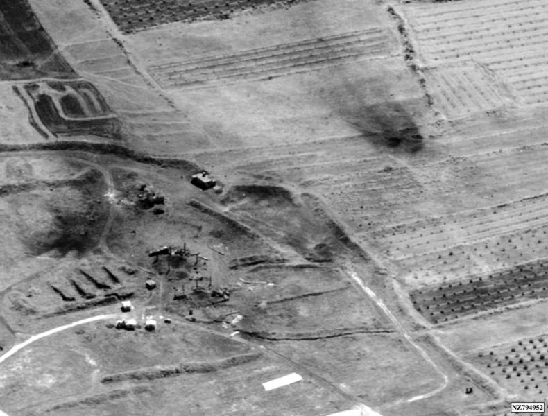 This image provided by the Department of Defense was presented as part of a briefing slide at the Pentagon briefing on Saturday, April 14, 2018, and shows a photo of a preliminary damage assessment from the Him Shinshar Chemical Weapons Storage Site in Syria that was struck by missiles from the U.S.-led coalition in response to Syria's use of chemical weapons on April 7. (Department of Defense via AP)