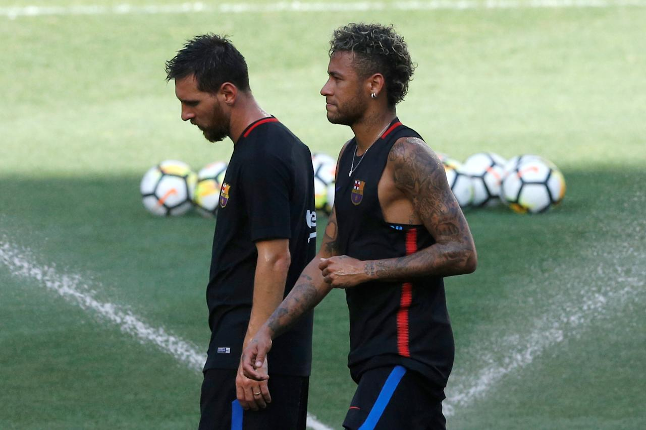 Football Soccer - Barcelona training - Red Bull Arena, Harrison, New Jersey, U.S. - July 21, 2017 - Barcelona's Neymar and Lionel Messi during training ahead of International Champions Cup.  REUTERS/Mike Segar