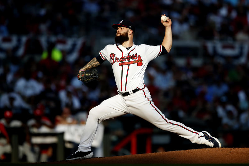ATLANTA, GEORGIA - OCTOBER 03: Dallas Keuchel #60 of the Atlanta Braves delivers the pitch against the St. Louis Cardinals during the third inning in game one of the National League Division Series at SunTrust Park on October 03, 2019 in Atlanta, Georgia. (Photo by Todd Kirkland/Getty Images)