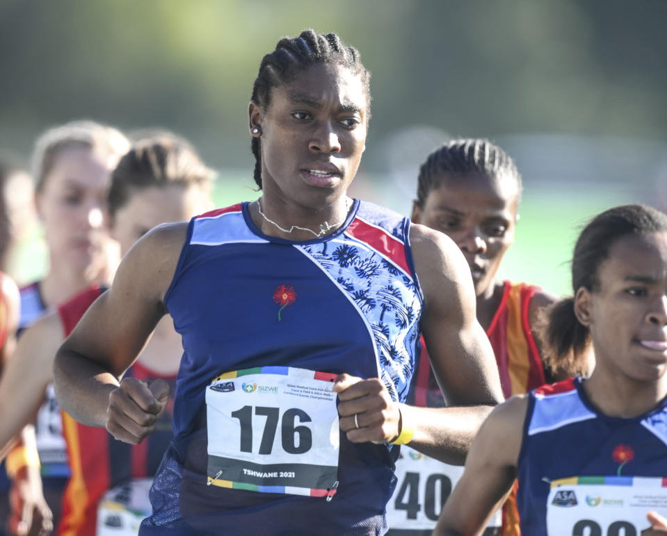 South African long distance athlete Caster Semenya on her way to winning the 5,000 meters at the South African national championships in Pretoria, South Africa, Thursday, April 15, 2021. Semenya said she's likely to focus on long-distance events for the rest of her career. (AP Photo/Christiaan Kotze)