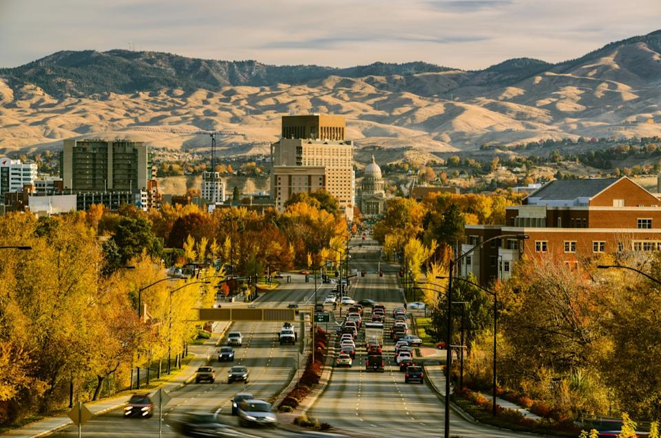 View of Boise downtown and Idaho Capitol on a fine autumn morning as seen from Capitol Blvd, Boise, Idaho, USA