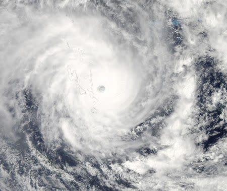 Cyclone Pam nears Vanuatu in this image from the Moderate Resolution Imaging Spectroradiometer on NASA's Aqua satellite