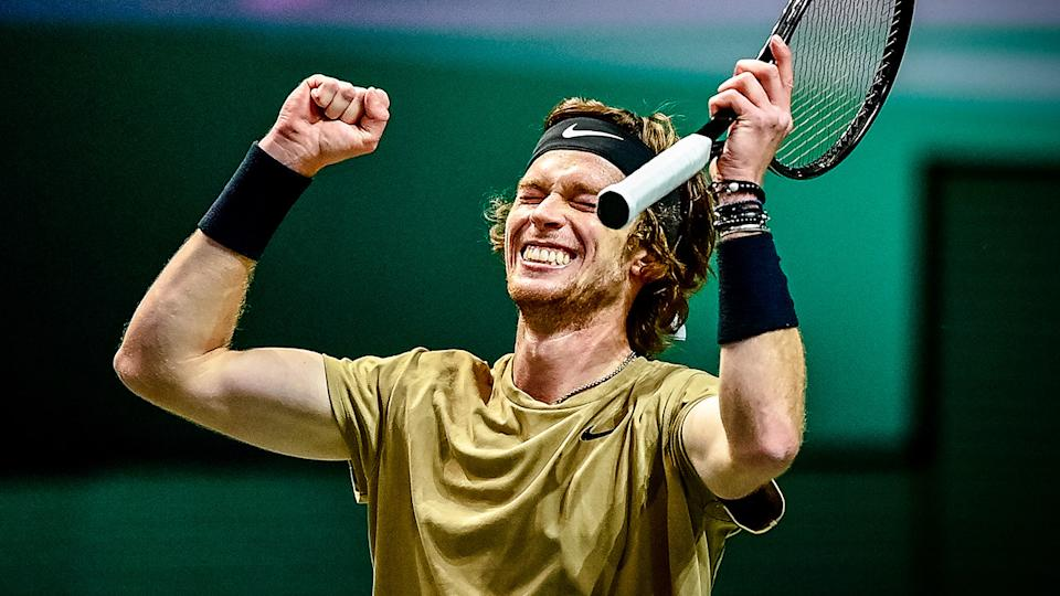 Andrey Rublev (pictured) celebrating the Rotterdam Open victory.