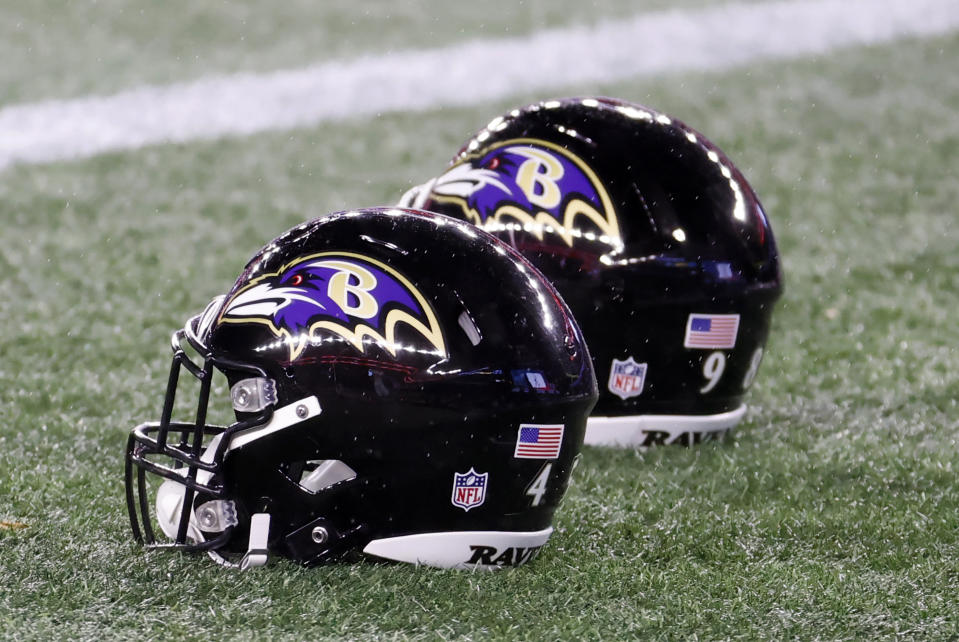 FOXBOROUGH, MA - NOVEMBER 15: Ravens helmets on the turf in warm up before a game between the New England Patriots and the Baltimore Ravens on November 15, 2020, at Gillette Stadium in Foxborough, Massachusetts. (Photo by Fred Kfoury III/Icon Sportswire via Getty Images)