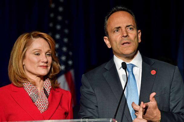 PHOTO: Kentucky Gov. Matt Bevin, right, and his wife, Glenna, speak to supporters gathered at a Republican Party event in Louisville, Ky., Tuesday, Nov. 5, 2019. Bevin did not concede the race to his opponent, electing to 'wait and see what happens.' (Timothy D. Easley/AP)