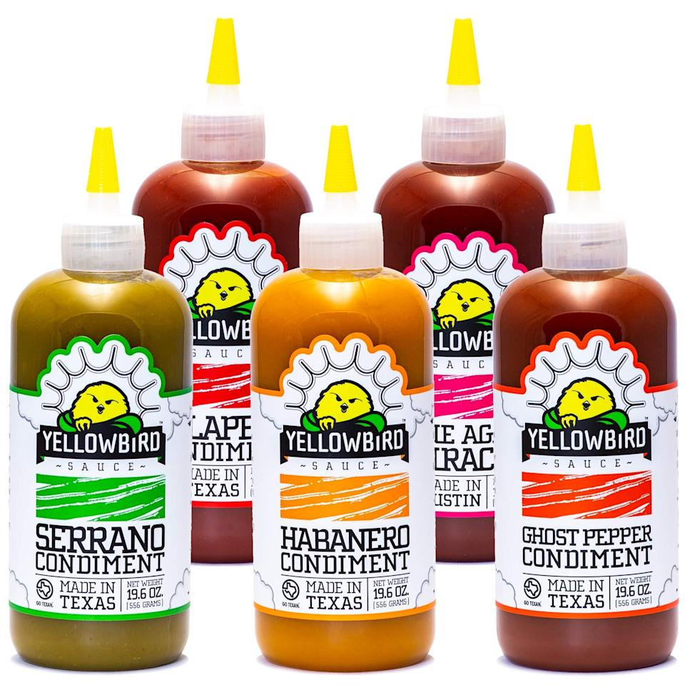 """<h2>Yellowbird Hot Sauce Variety Pack</h2><br><strong>Under $50</strong><br>Yellowbird is consistently a top pick among hot-sauce connoisseurs — if your day doesn't already bulk-buy this small-batch, non-GMO spicy stuff, he's going to start after sampling this gift.<br><br><em>Shop Yellowbird on<strong> <a href=""""https://amzn.to/2RxcsfB"""" rel=""""nofollow noopener"""" target=""""_blank"""" data-ylk=""""slk:Amazon"""" class=""""link rapid-noclick-resp"""">Amazon</a></strong></em><br><br><strong>Yellowbird</strong> Hot Sauce Variety Pack, $, available at <a href=""""https://amzn.to/3uYtMYA"""" rel=""""nofollow noopener"""" target=""""_blank"""" data-ylk=""""slk:Amazon"""" class=""""link rapid-noclick-resp"""">Amazon</a>"""