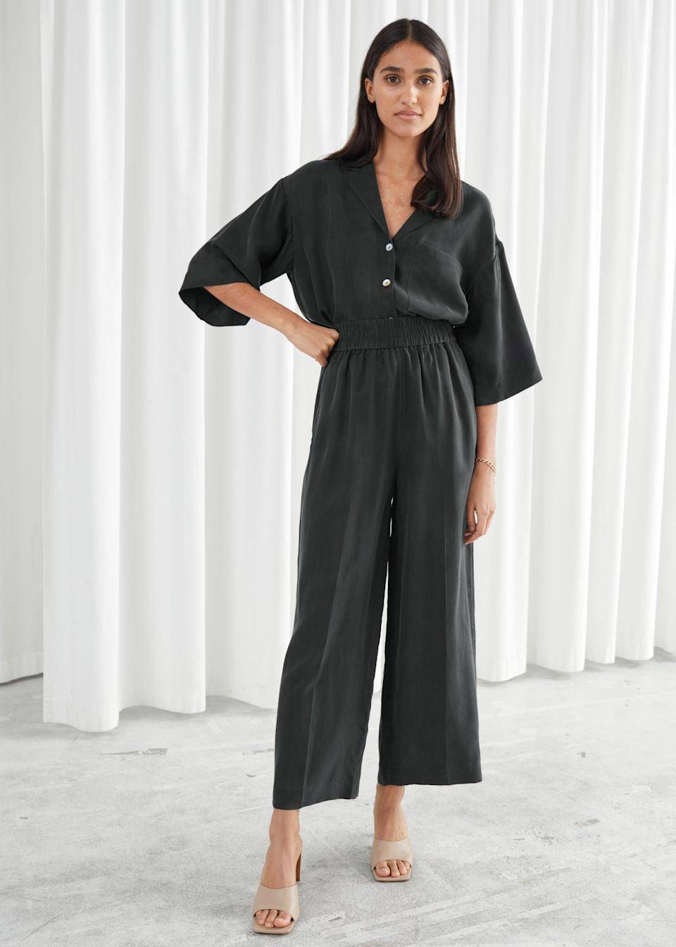 "<br> <br> <strong>& Other Stories</strong> Wide Leg Cupro Blend Cropped Trousers, $, available at <a href=""https://go.skimresources.com/?id=30283X879131&url=https%3A%2F%2Fwww.stories.com%2Fen_usd%2Fclothing%2Ftrousers%2Fculottes%2Fproduct.wide-leg-cupro-blend-cropped-trousers-black.0841092001.html"" rel=""nofollow noopener"" target=""_blank"" data-ylk=""slk:& Other Stories"" class=""link rapid-noclick-resp"">& Other Stories</a> <br> <br> <strong>& Other Stories</strong> Cupro Blend Relaxed Fit Shirt, $, available at <a href=""https://go.skimresources.com/?id=30283X879131&url=https%3A%2F%2Fwww.stories.com%2Fen_usd%2Fclothing%2Fblouses-shirts%2Fshirts%2Fproduct.cupro-blend-relaxed-fit-shirt-black.0864691004.html"" rel=""nofollow noopener"" target=""_blank"" data-ylk=""slk:& Other Stories"" class=""link rapid-noclick-resp"">& Other Stories</a>"
