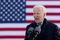 US Democratic presidential candidate Joe Biden speaks during a drive-in campaign event at the Iowa State Fairgrounds in Des Moines, Iowa, on October 30, 2020.