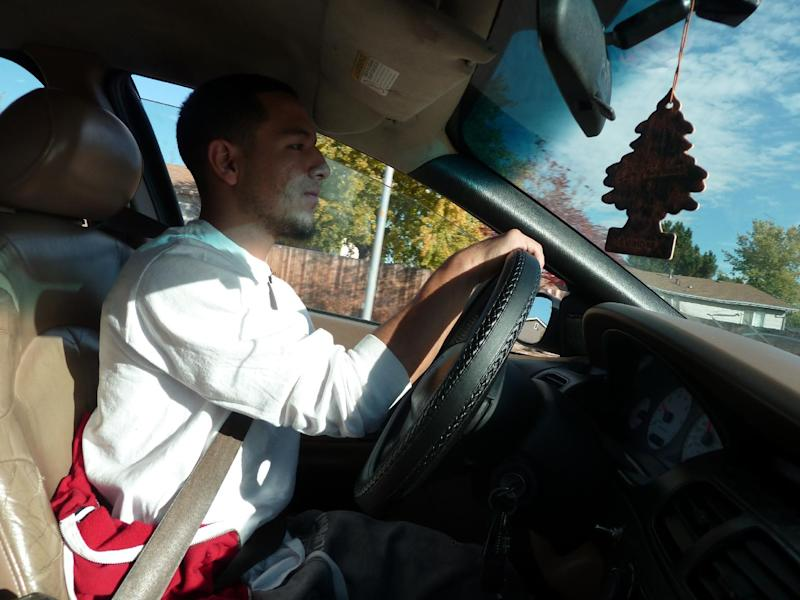 """Undocumented Mexican citizen Humberto Cruz Salas, who has lived in the Denver area since he was three years old, said he was """"kind of speechless,"""" when he got his drivers license thanks to a new Colorado law (AFP Photo/Ivan Couronne)"""