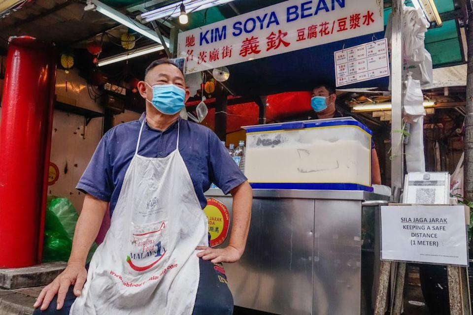 Ng Lee Yam, a third-generation operator of the Kim Soya Bean stall on Petaling Street, speaks to Malay Mail during an interview in Kuala Lumpur June 23, 2021. — Picture by Shafwan Zaidon